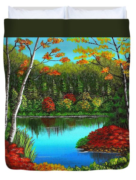 Autumn On The Water Duvet Cover by Cyndi Kingsley