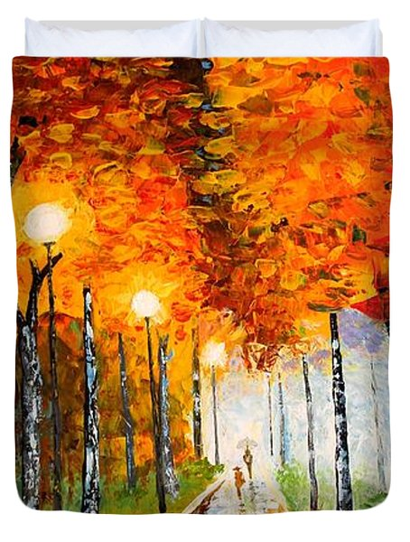 Autumn Park Night Lights palette knife Duvet Cover by Georgeta  Blanaru