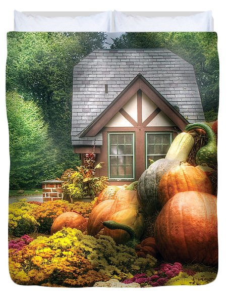 Autumn - Pumpkin - This Years Harvest Was Awesome  Duvet Cover by Mike Savad