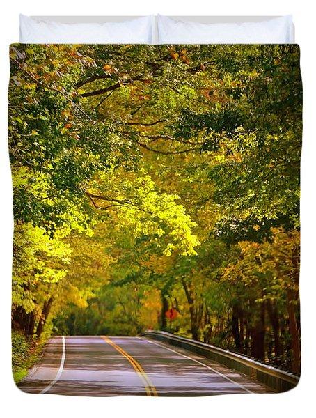 Autumn Road Duvet Cover by Carol Groenen