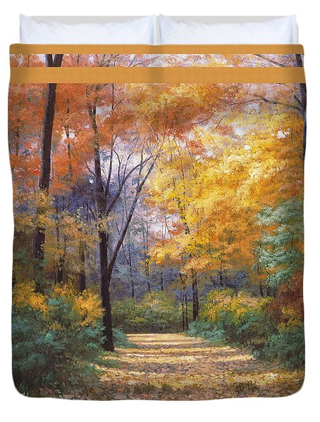 Autumn Road Tapestry Look Duvet Cover by Diane Romanello
