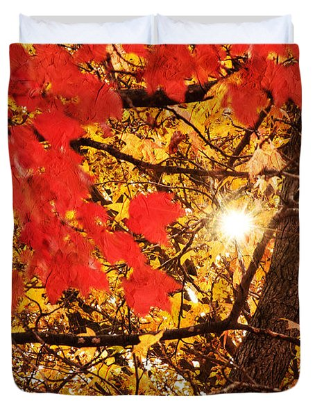 Autumn Sunrise Painterly Duvet Cover by Andee Design