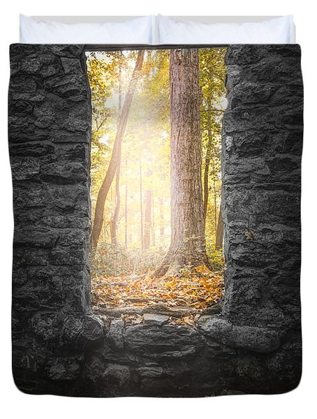 Autumn within Long Pond Ironworks - Historical Ruins Duvet Cover by Gary Heller
