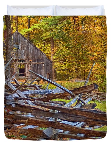 Autumn Wooden Fence Duvet Cover by Joann Vitali
