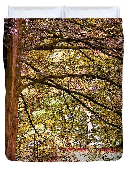 Autumnal Colors in the Summer Time. De Haar Castle Park Duvet Cover by Jenny Rainbow