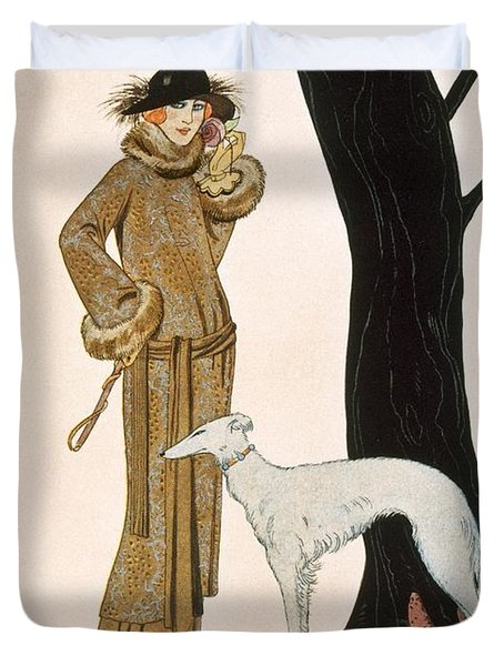 Autumnal Symphony Afternoon Coat And Dress By Worth Duvet Cover by Georges Barbier