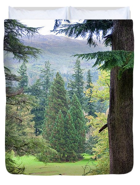 Autumnal Trees In Benmore Botanical Garden. Scotland Duvet Cover by Jenny Rainbow