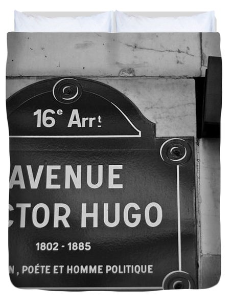 Avenue Victor Hugo Paris Road Sign Duvet Cover by Georgia Fowler