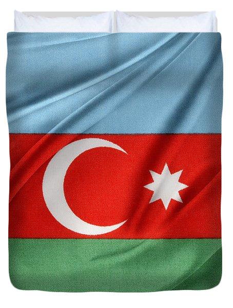 Azerbaijan flag Duvet Cover by Les Cunliffe
