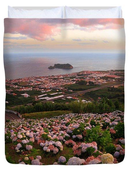 Azorean Town At Sunset Duvet Cover by Gaspar Avila