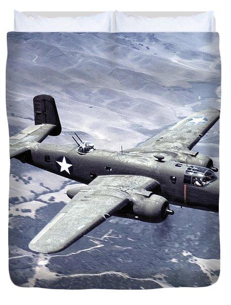 B-25 World War II Era Bomber - 1942 Duvet Cover by Daniel Hagerman