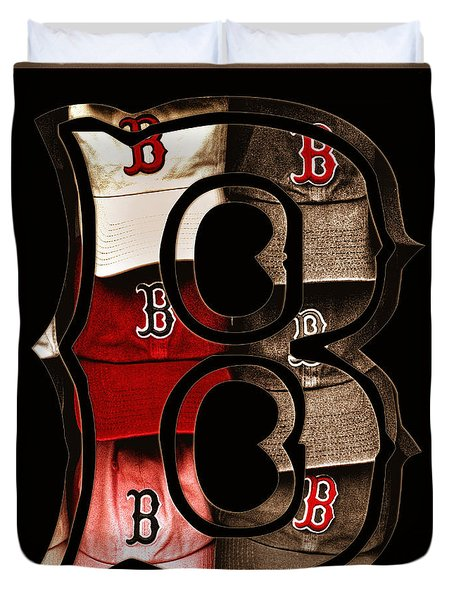 B for BoSox - Vintage Boston Poster Duvet Cover by Joann Vitali