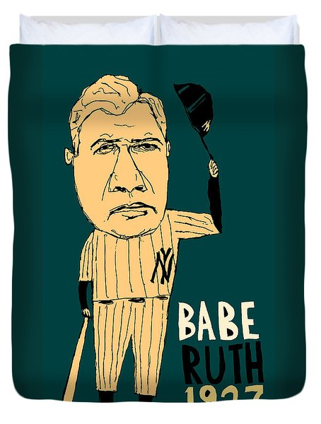 Babe Ruth New York Yankees Duvet Cover by Jay Perkins