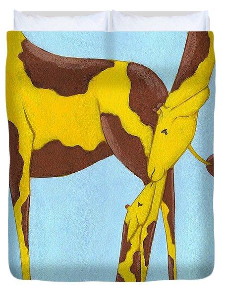 Baby Giraffe Nursery Art Duvet Cover by Christy Beckwith