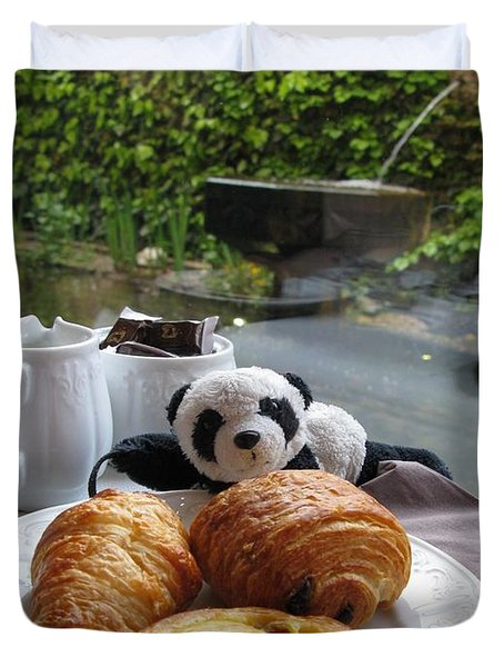 Baby Panda And Croissant Rolls Duvet Cover by Ausra Huntington nee Paulauskaite