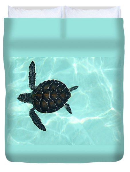 Baby Sea Turtle Duvet Cover by Ellen Henneke
