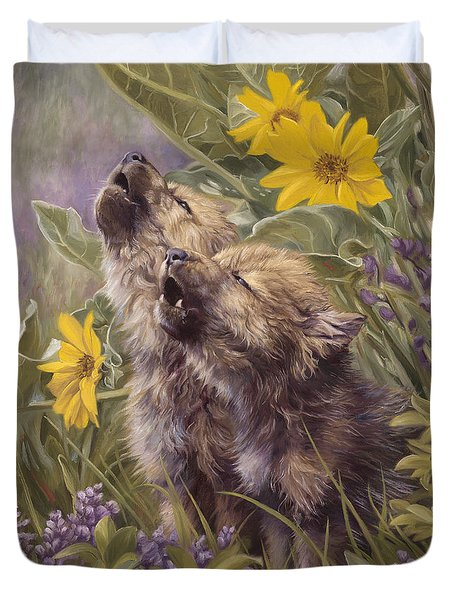 Baby Wolves Howling Duvet Cover by Lucie Bilodeau