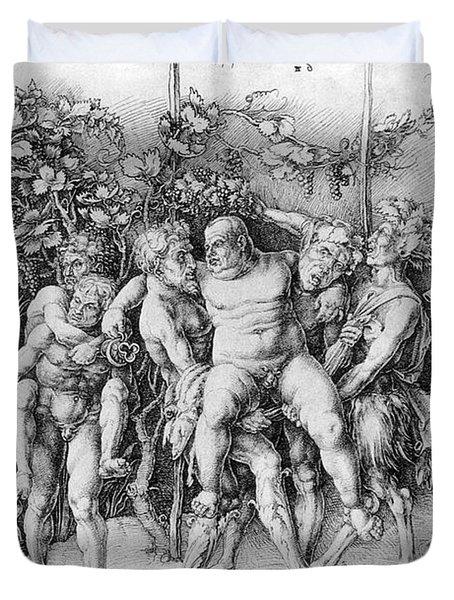 Bacchanal With Silenus - Albrecht Durer Duvet Cover by Daniel Hagerman