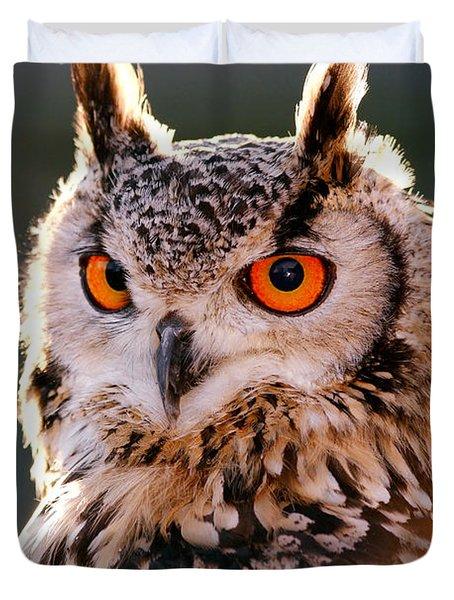 Backlit Eagle Owl Duvet Cover by Roeselien Raimond