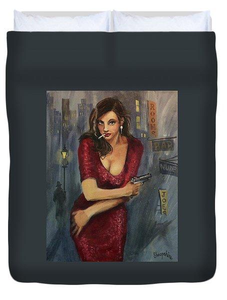 Bad Girl Duvet Cover by Tom Shropshire