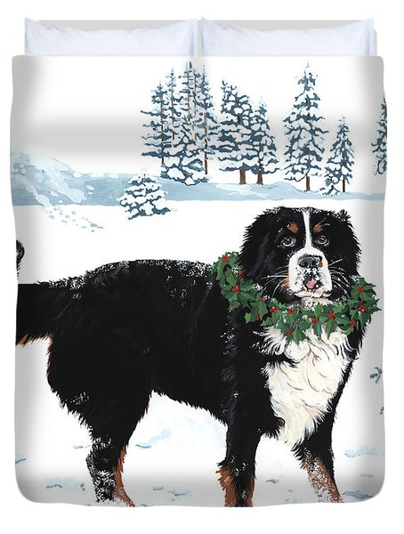 Bah Humbug Merry Christmas large Duvet Cover by Liane Weyers