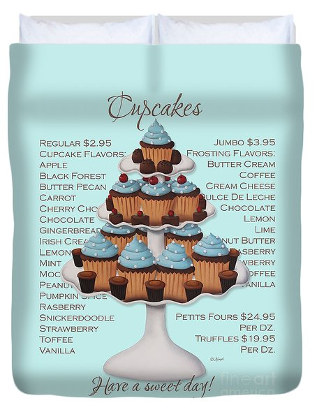 Baked Fresh Daily Aqua Background Duvet Cover by Catherine Holman