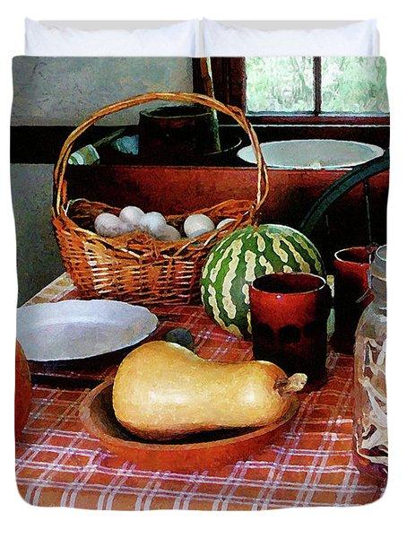 Baking A Squash And Pumpkin Pie Duvet Cover by Susan Savad