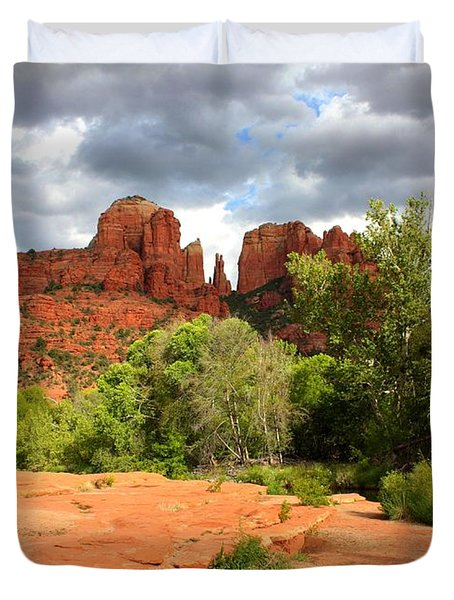 Balance at Cathedral Rock Duvet Cover by Carol Groenen