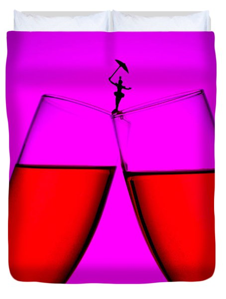 Balance On Red Wine Cups Little People On Food Duvet Cover by Paul Ge