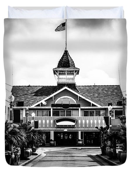 Balboa California Main Street Black and White Picture Duvet Cover by Paul Velgos