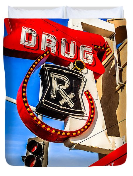 Balboa Pharmacy Drug Store Newport Beach Photo Duvet Cover by Paul Velgos