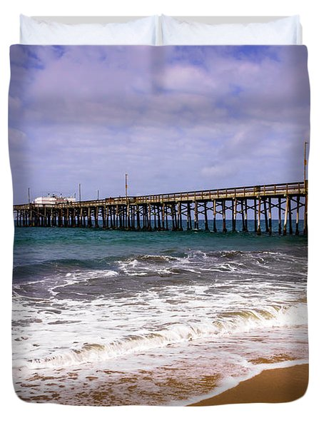 Balboa Pier in Newport Beach California Duvet Cover by Paul Velgos