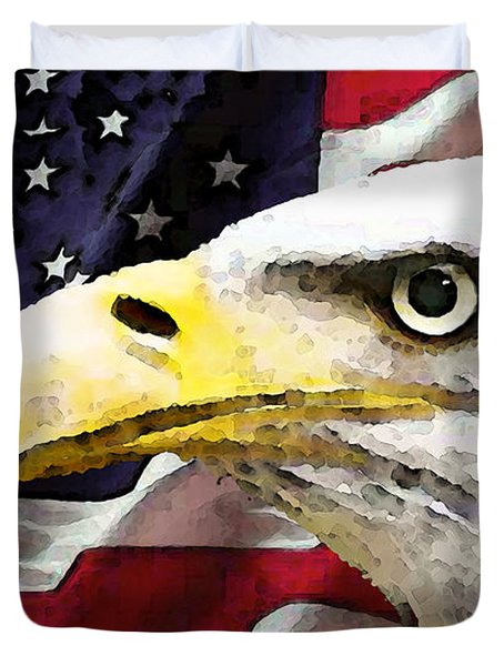 Bald Eagle Art - Old Glory - American Flag Duvet Cover by Sharon Cummings