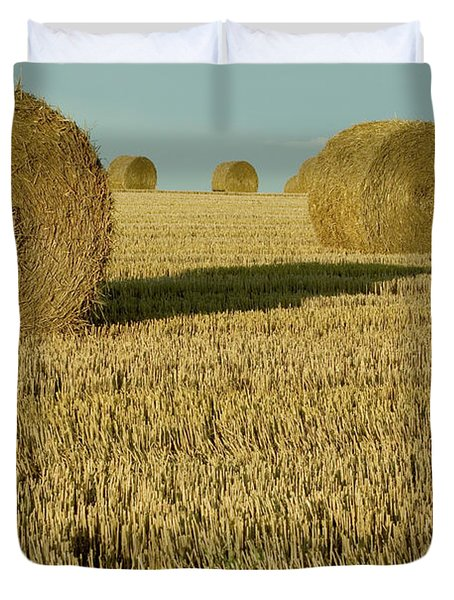 Bales Of Grain At Harvest Time Duvet Cover by Cyril Ruoso