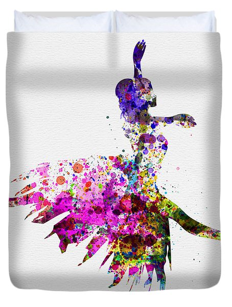 Ballerina On Stage Watercolor 4 Duvet Cover by Naxart Studio