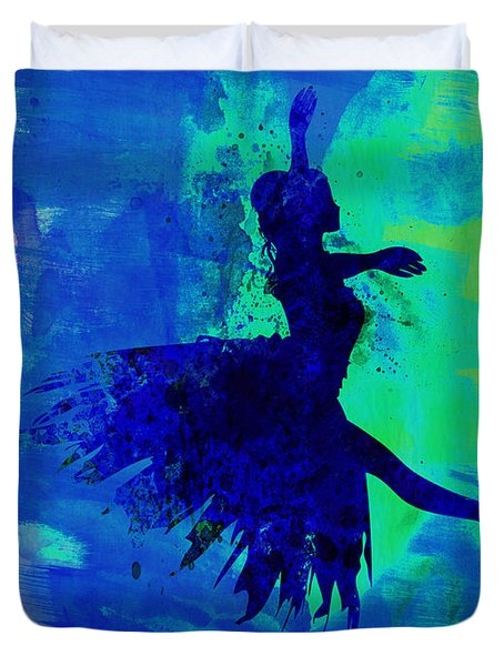 Ballerina On Stage Watercolor 5 Duvet Cover by Naxart Studio