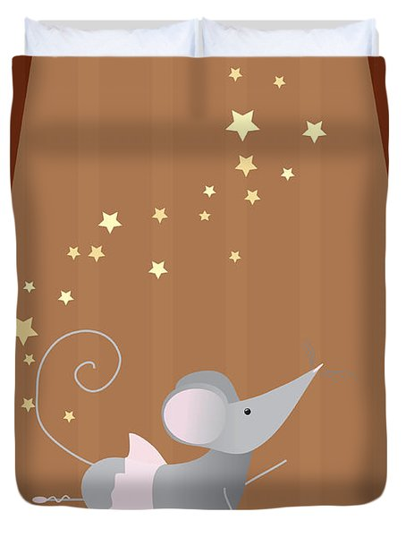 Ballet Mouse Nursery Art Girl Duvet Cover by Christy Beckwith