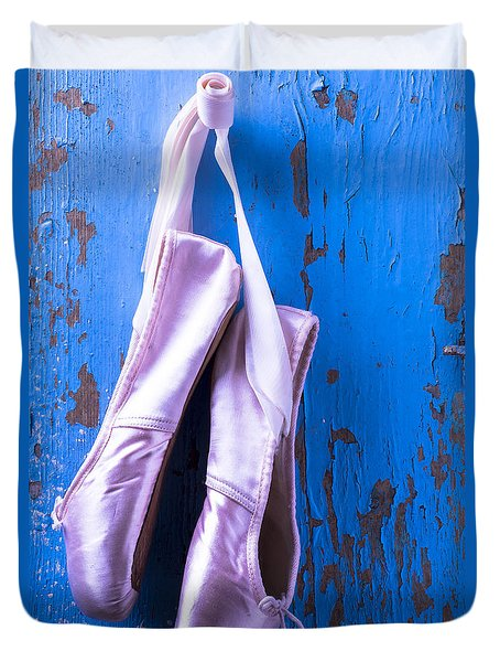 Ballet Shoes On Blue Wall Duvet Cover by Garry Gay