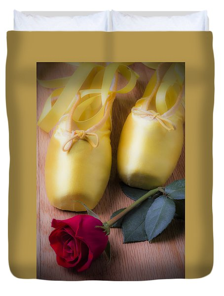 Ballet Shoes With Red Rose Duvet Cover by Garry Gay