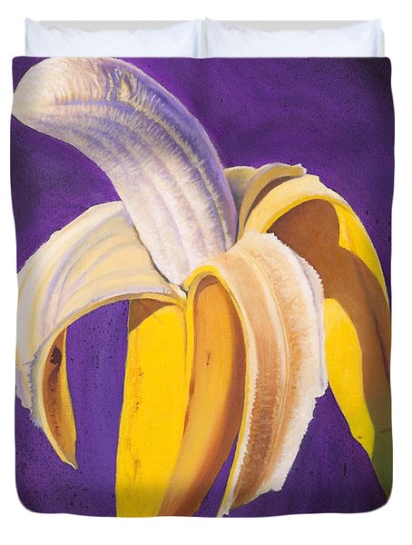 Banana Half Peeled Duvet Cover by Karl Melton