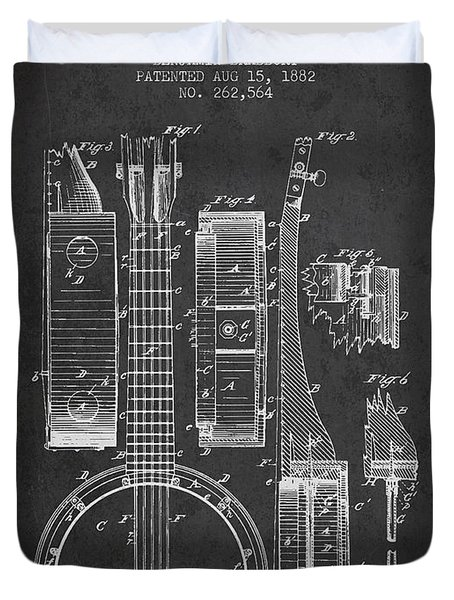 Banjo patent Drawing from 1882 Dark Duvet Cover by Aged Pixel
