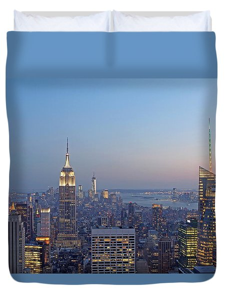 Bank of America and Empire State Building Duvet Cover by Juergen Roth