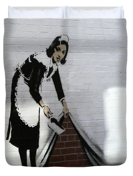 Banksy Maid Duvet Cover by A Rey