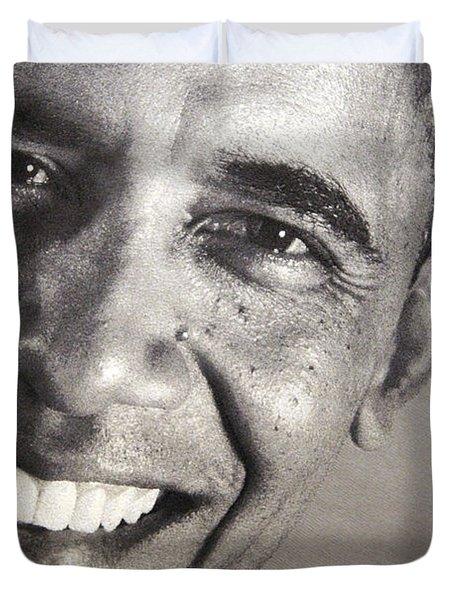 Barack Obama Up Close Duvet Cover by Cora Wandel