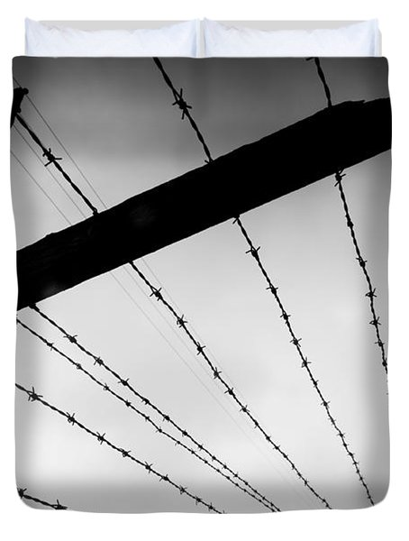 Barbed Wire Fence Duvet Cover by Michal Bednarek