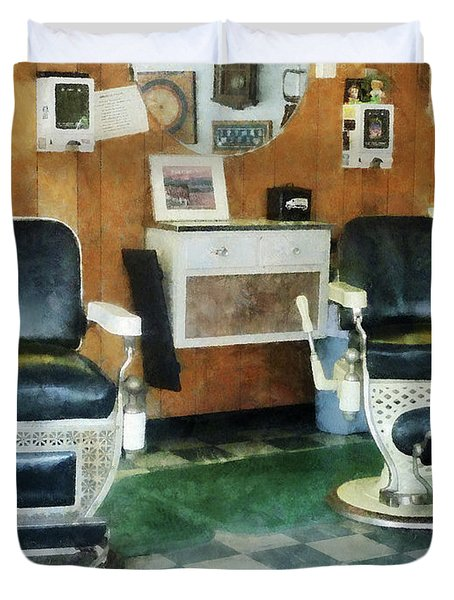 Barber - Corner Barber Shop Two Chairs Duvet Cover by Susan Savad