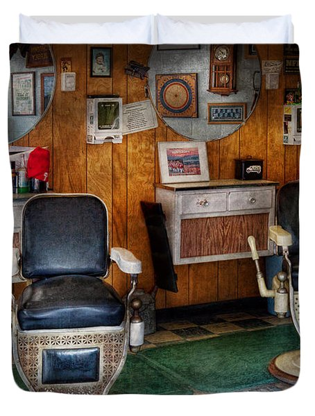 Barber - Frenchtown NJ - Two old barber chairs  Duvet Cover by Mike Savad