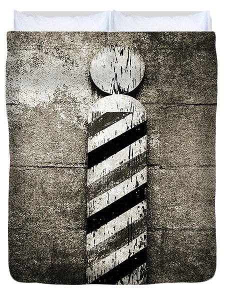 Barber Pole Black And White Duvet Cover by Andee Design
