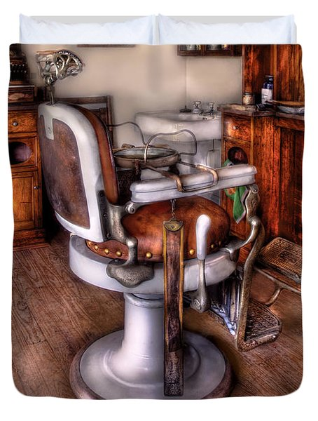 Barber - The Barber Chair Duvet Cover by Mike Savad