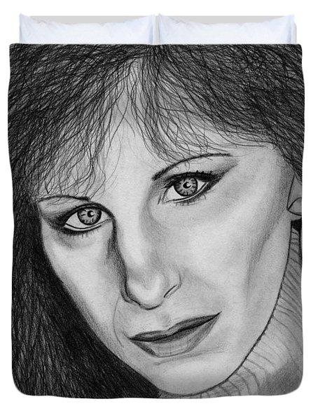 Barbra Streisand In 1983 Duvet Cover by J McCombie